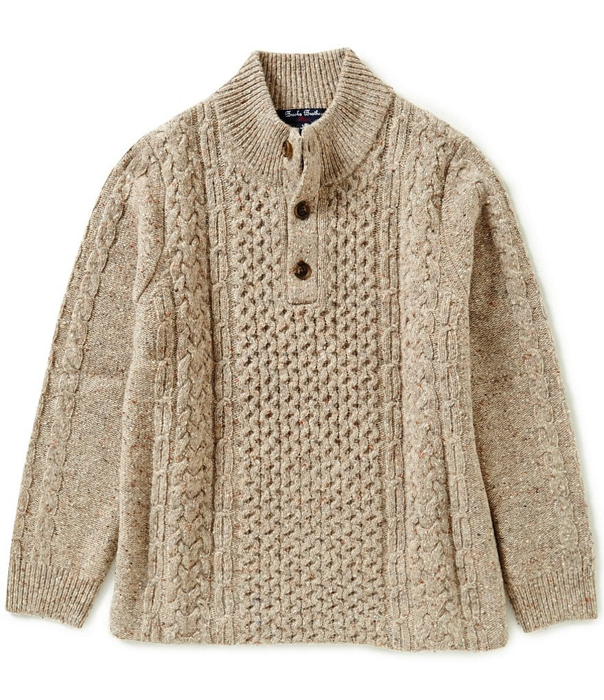 Brooks Brothers Little/Big Boys 4-20 Fishermen Mock Neck Sweater