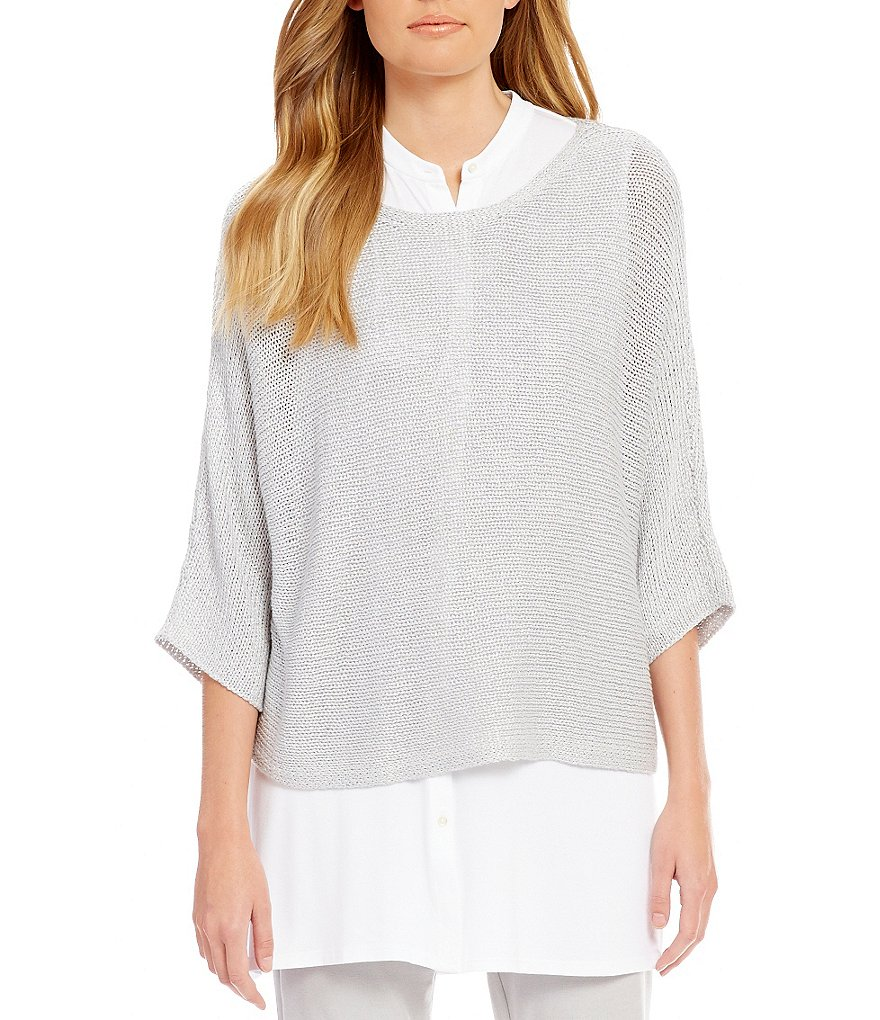 Eileen Fisher Petites Shimmer 3/4 Sleeve Top