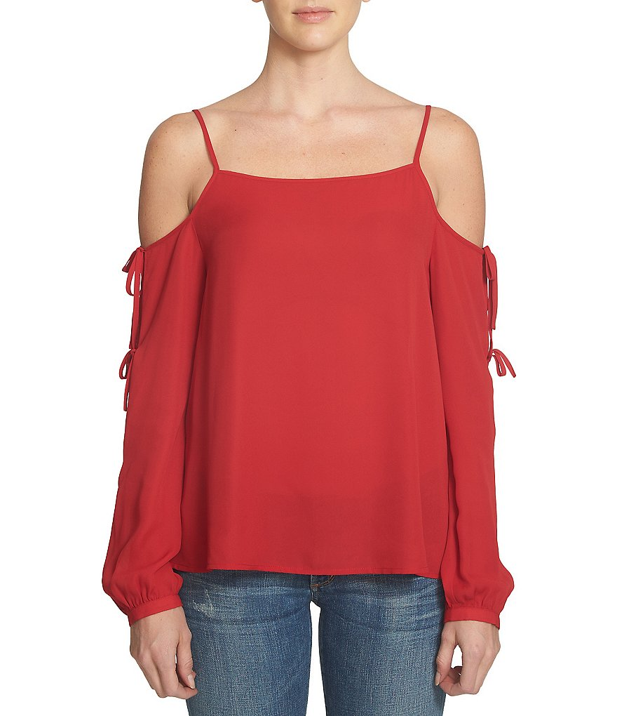 1. STATE Long Sleeve Printed Cold-Shoulder Top
