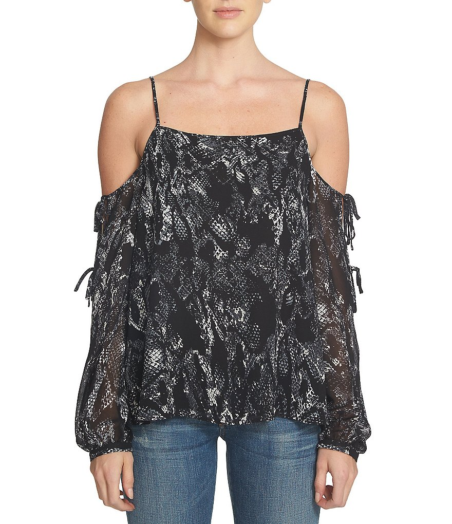 1. STATE Long Sleeve Cold-Shoulder Snake Print Top