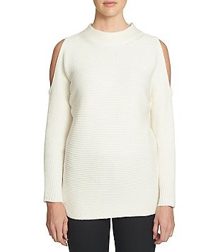 1. STATE Mock Neck Cold Shoulder Solid Pullover Sweater