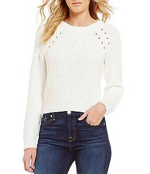 1. STATE Crew Neck Lace-Up Cropped Pullover Sweater