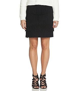 1. STATE Solid Ponte Layered Fringe A-Line Mini Skirt