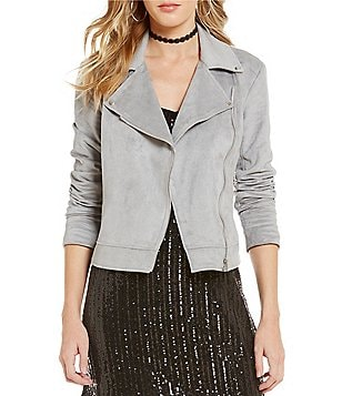 1. STATE Notch Lapel Collar Front Zip Faux-Suede Moto Jacket