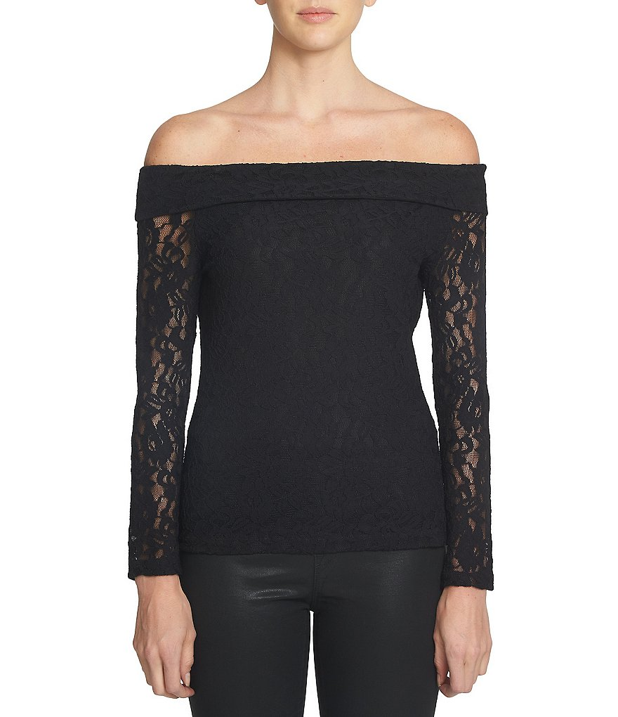 1. STATE Off-The-Shoulder Long Sleeve Solid Lace Top