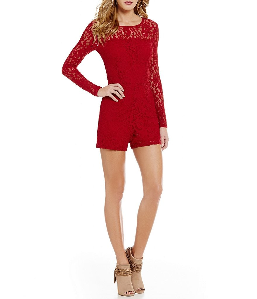 1. STATE Round Neck Long Sleeve Solid Lace Romper