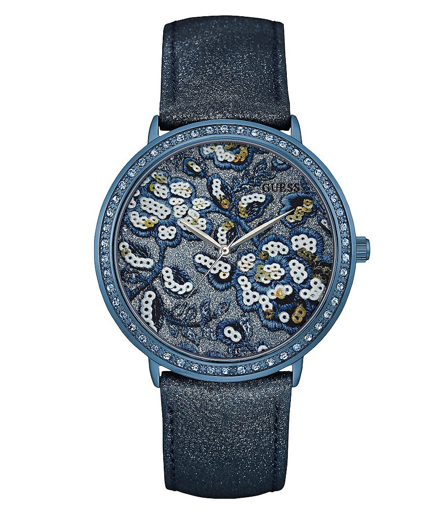 Guess Floral Analog Leather-Strap Watch