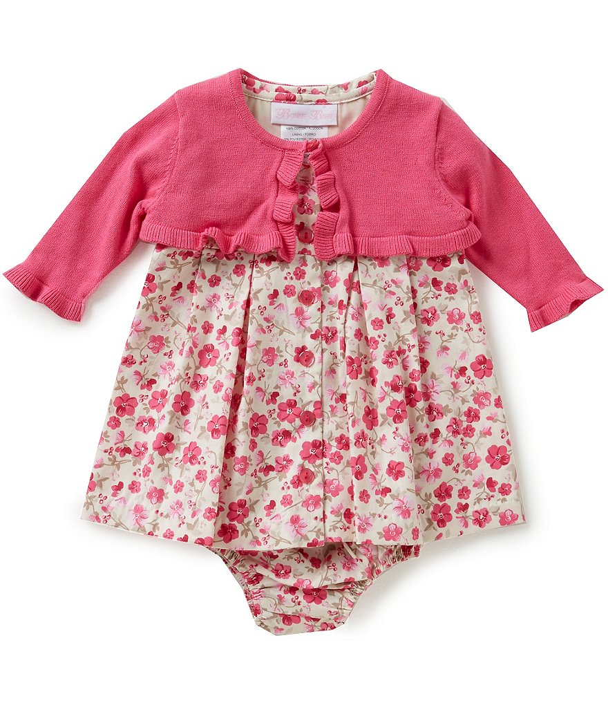 Bonnie Baby Girls Newborn-24 Months Floral Print Dress and Cardigan Set