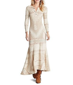 Polo Ralph Lauren Cotton Henley 3/4 Sleeve Maxi Dress
