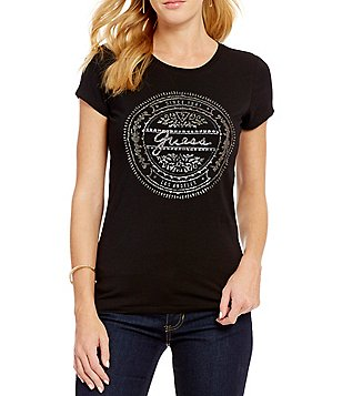 Guess Stamped Vintage Logo Graphic Stretch Jersey Tee