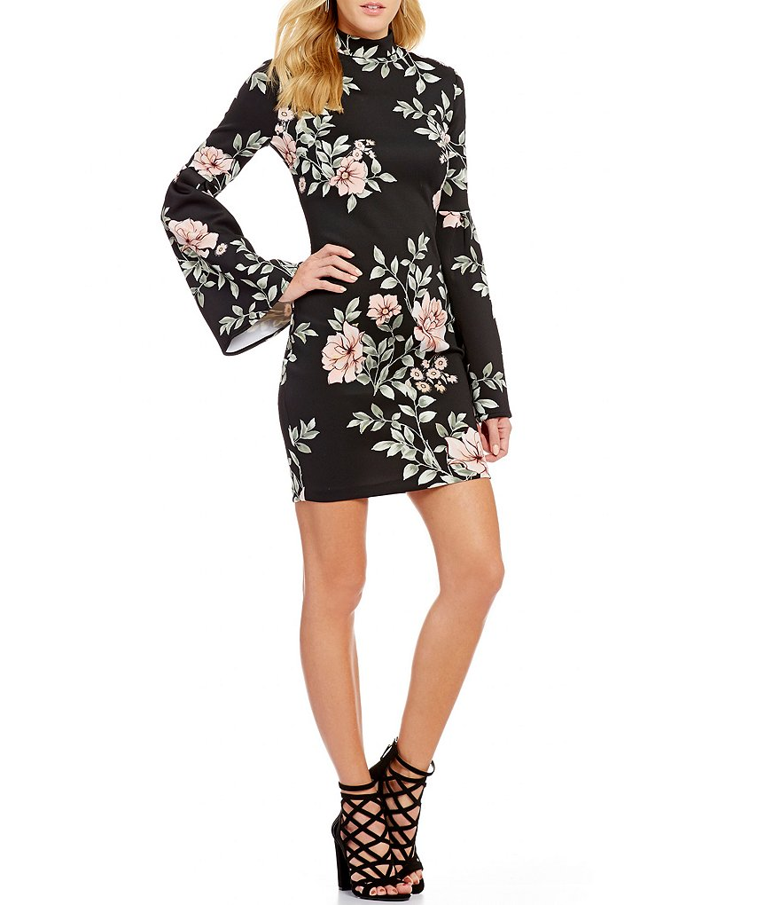 Guess Luba Floral Print Pleated Bell-Sleeve Mock Neck Scuba Sheath Dress