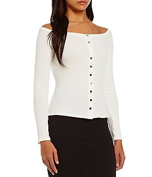 Guess Charline Off-The-Shoulder Long-Sleeve Button Front Top
