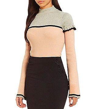 Guess Nadia Color Blocked Mockneck Bell Sleeve Top