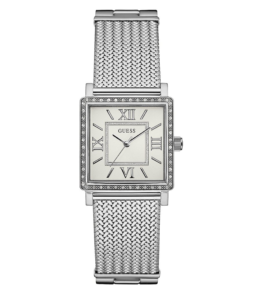 Guess Square Analog Mesh Bracelet Watch