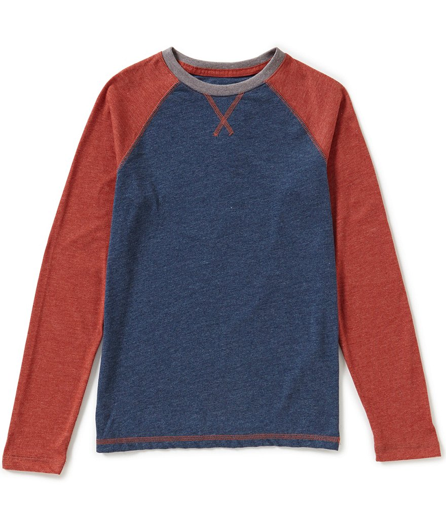 Class Club Big Boys 8-20 V-Neck Raglan Long-Sleeve Tee