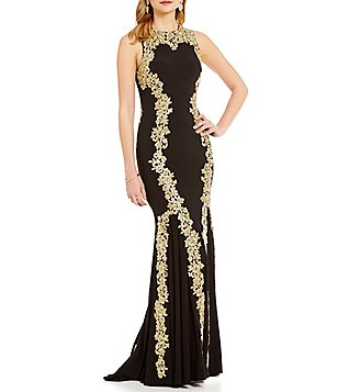 Betsy & Adam Gold Lace Applique Sleeveless Jersey Mermaid Gown