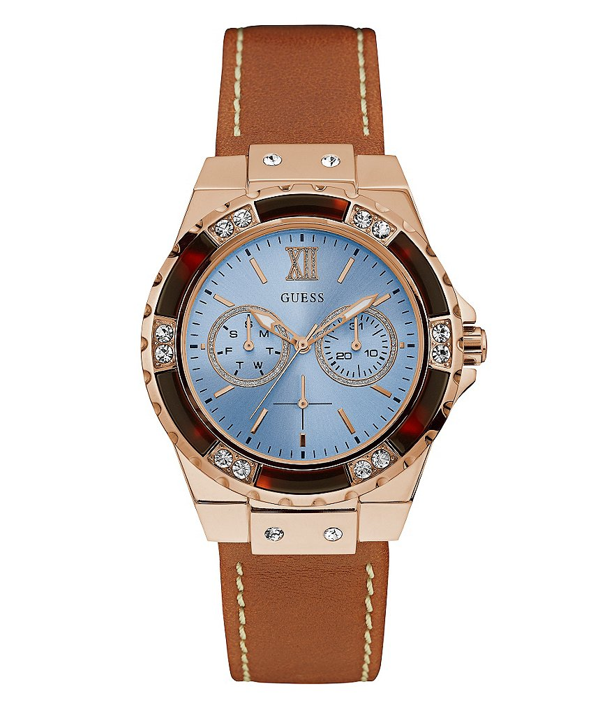 Guess Multifunction Leather-Strap Watch