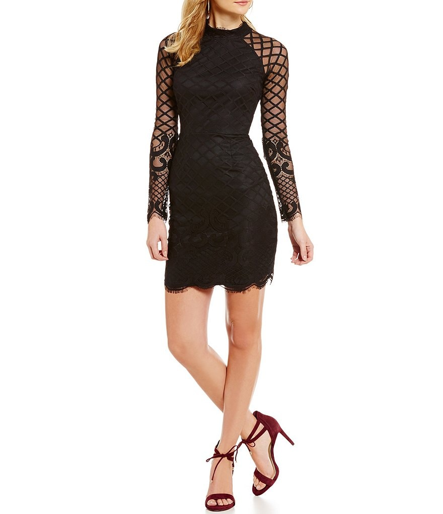 Sequin Hearts Illusion-Lace Mockneck Dress