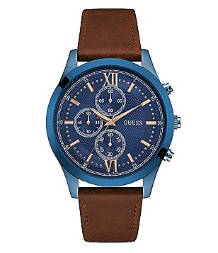 Guess Chronograph Leather-Strap Watch