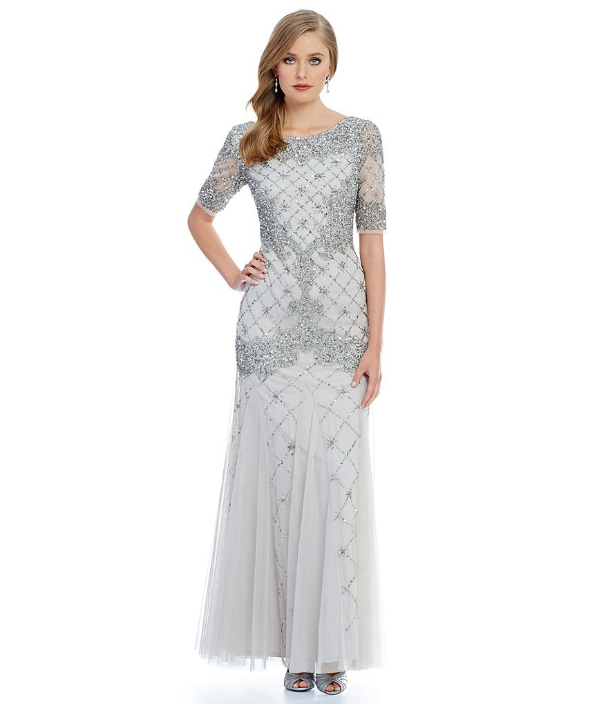 Adrianna Papell Beaded Elbow Sleeve Gown