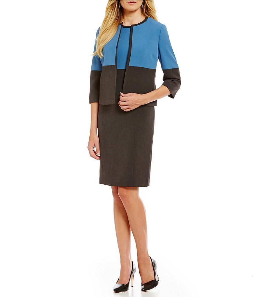 Kasper Stretch Crepe Flyaway Color Block Jacket & Stretch Crepe Color Block Sheath Dress