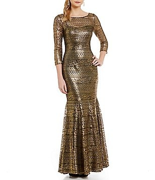 Kay Unger Metallic Lace 3/4 Sleeve Gown