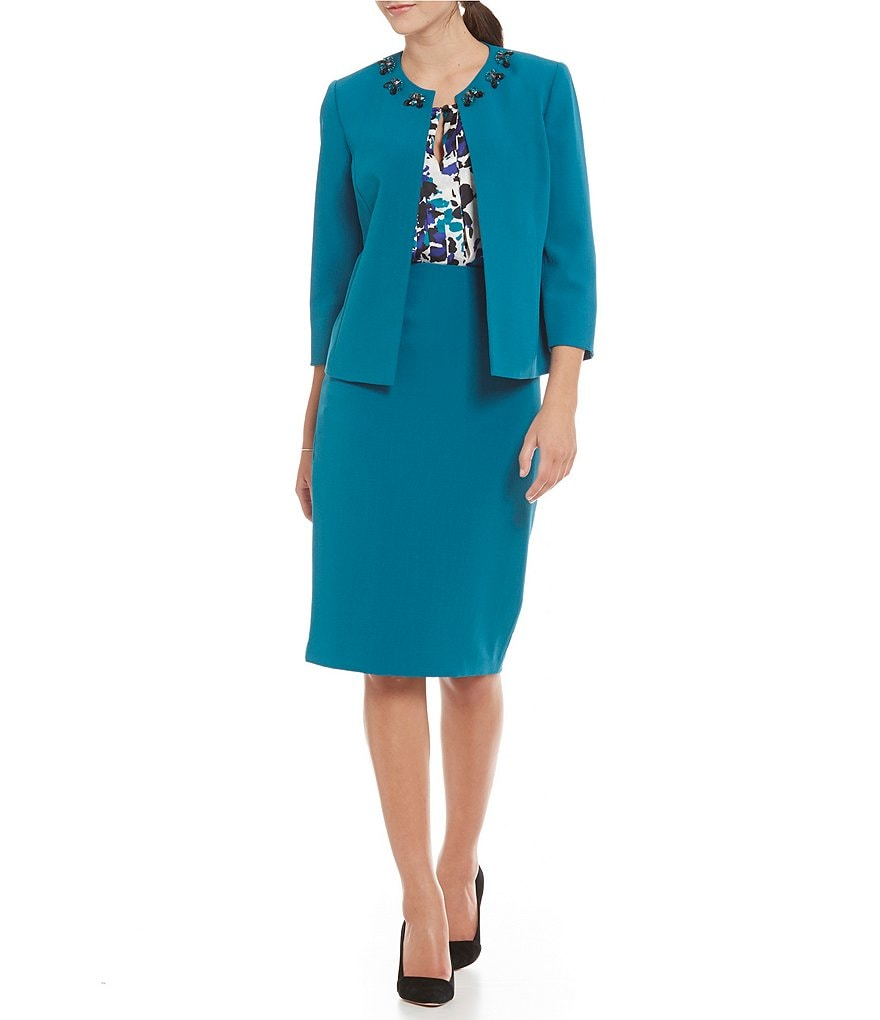 Kasper Stretch Crepe Single-Button Collarless Jacket & Crepe Skimmer Skirt