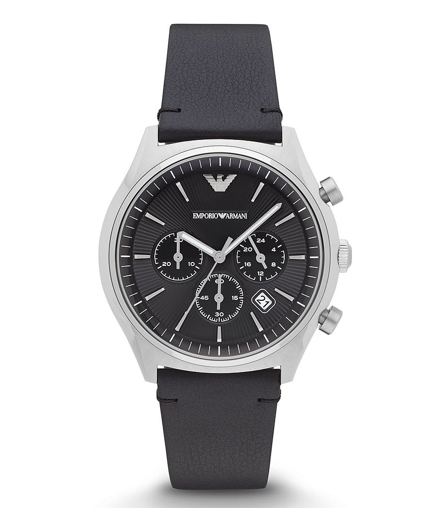 Emporio Armani Chronograph & Date Leather-Strap Dress Watch