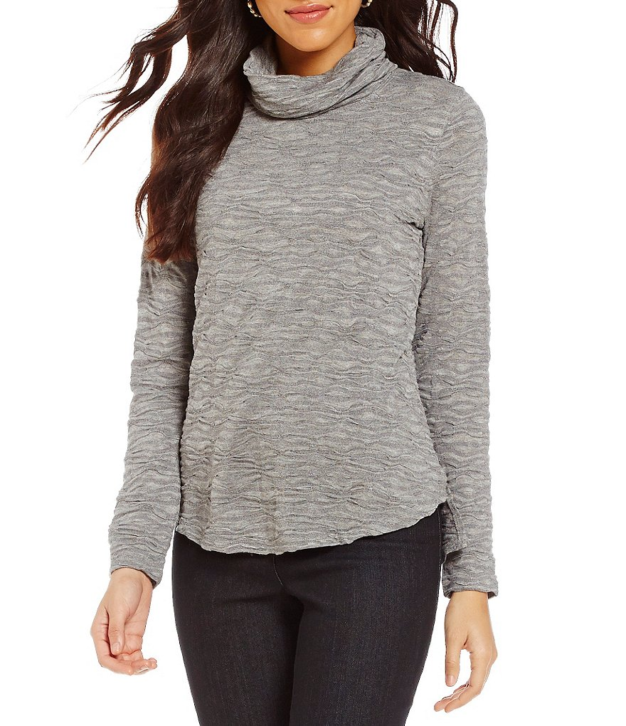 Westbound Textured Long Sleeve Cowl Neck Top