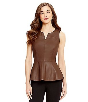 Antonio Melani Hilary Genuine Leather Peplum Top