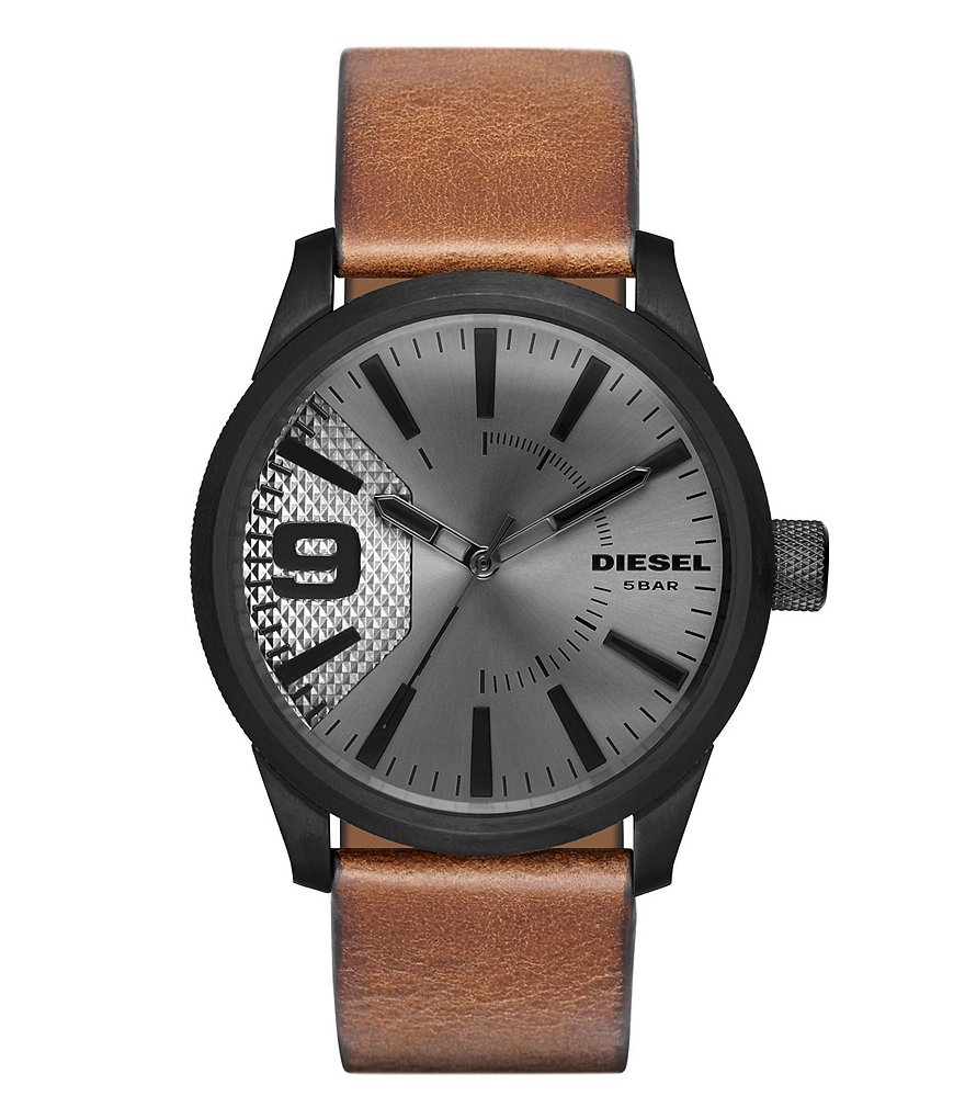 Diesel Rasp Analog Leather-Strap Watch