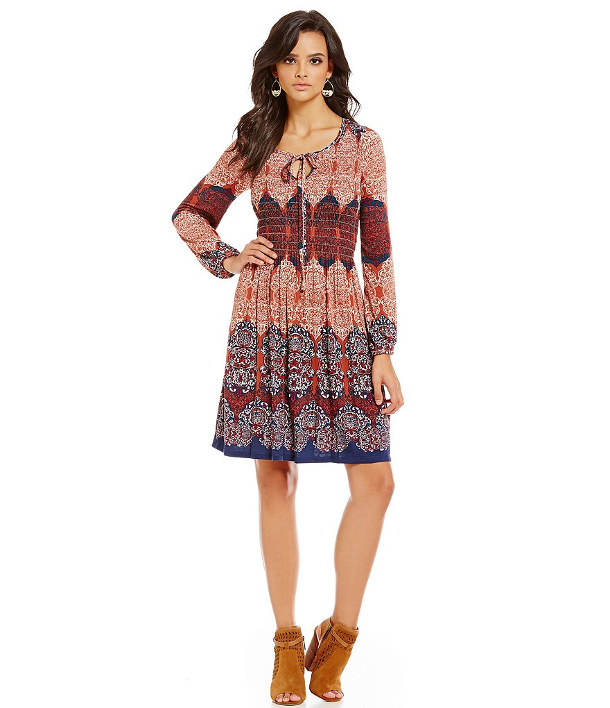 Chelsea & Violet Printed Smocked Knit Tie Front Dress