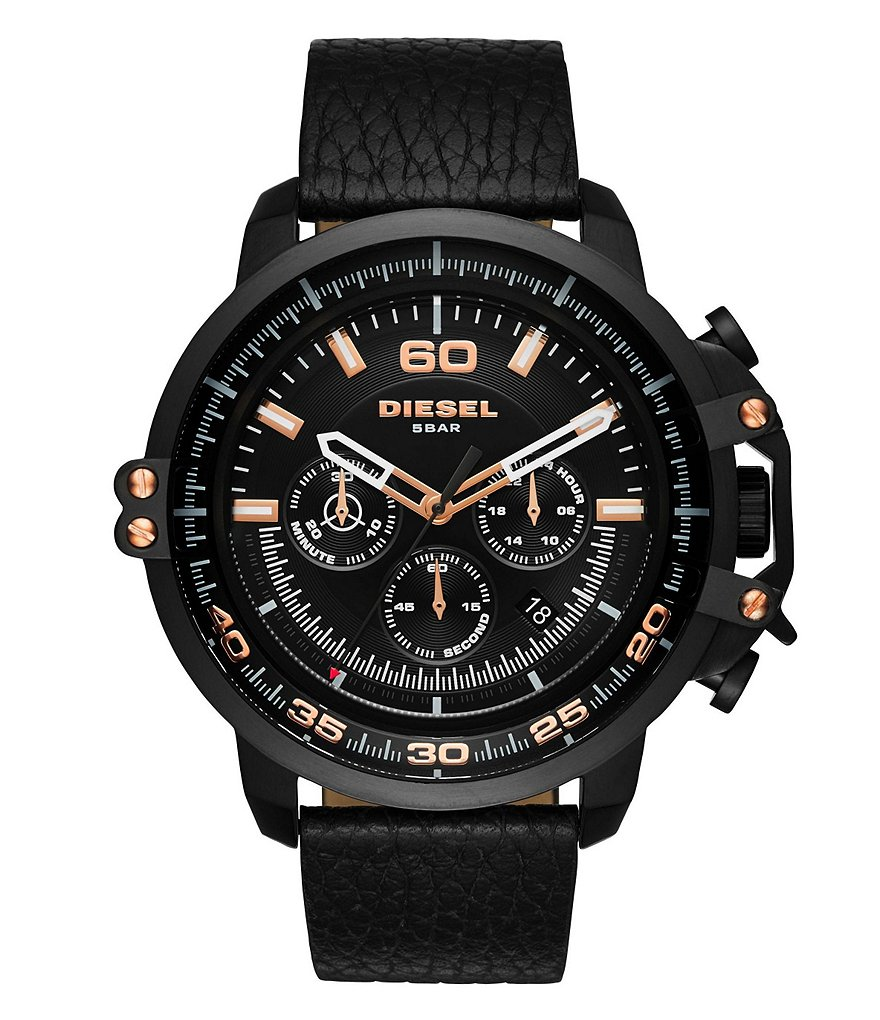Diesel Deadeye Chronograph Leather-Strap Watch