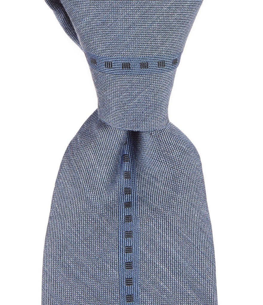 Murano Denim Panel Narrow Silk Tie