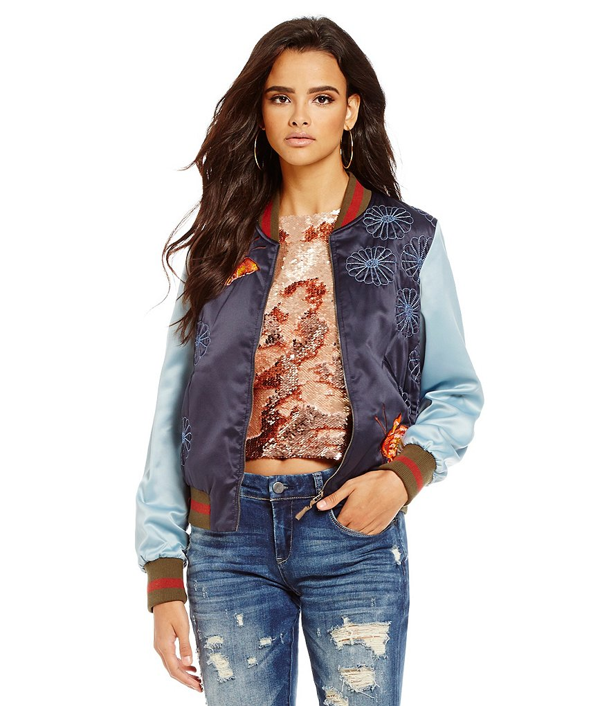 Chelsea & Violet Quilted Round Neck Embroidered Bomber Jacket