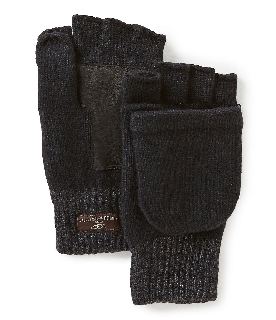 UGG Wool Flip Mittens with Faux-Fur Lining