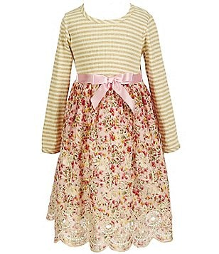 Bonnie Jean Little Girls 2T-6X Striped Knit To Floral-Print Embroidered Scalloped-Hem A-Line Dress