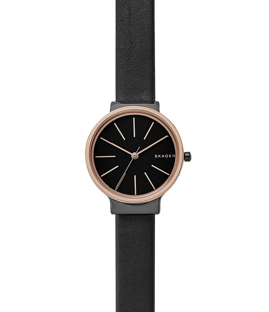 Skagen Ancher Analog Convertible Leather-Strap Watch