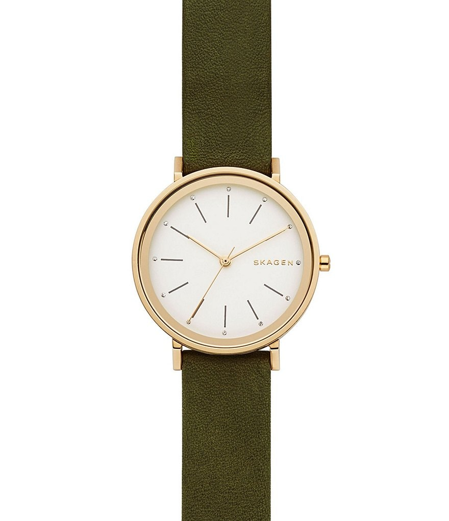 Skagen Hald Analog Leather-Strap Watch