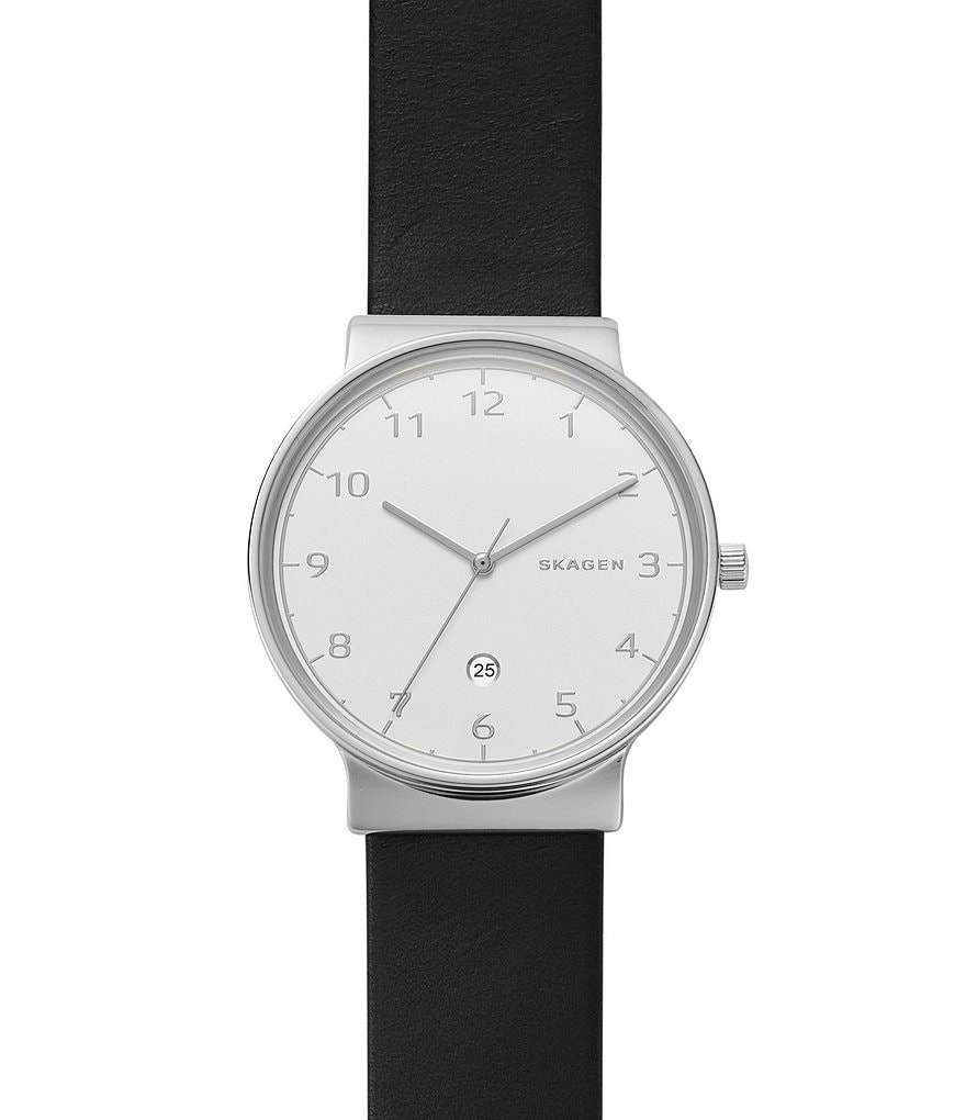 Skagen Analog & Date Convertible Leather-Strap Ancher Watch