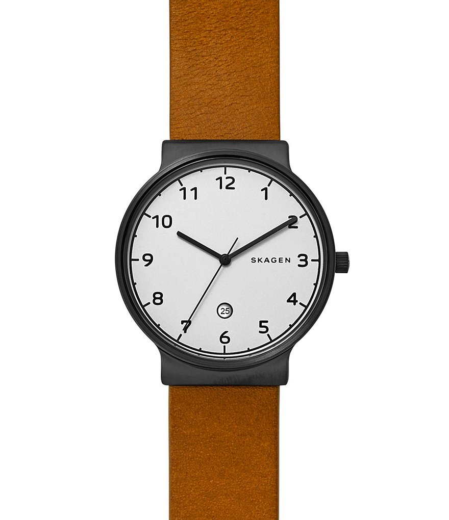 Skagen Ancher Analog & Date Convertible Leather-Strap Watch