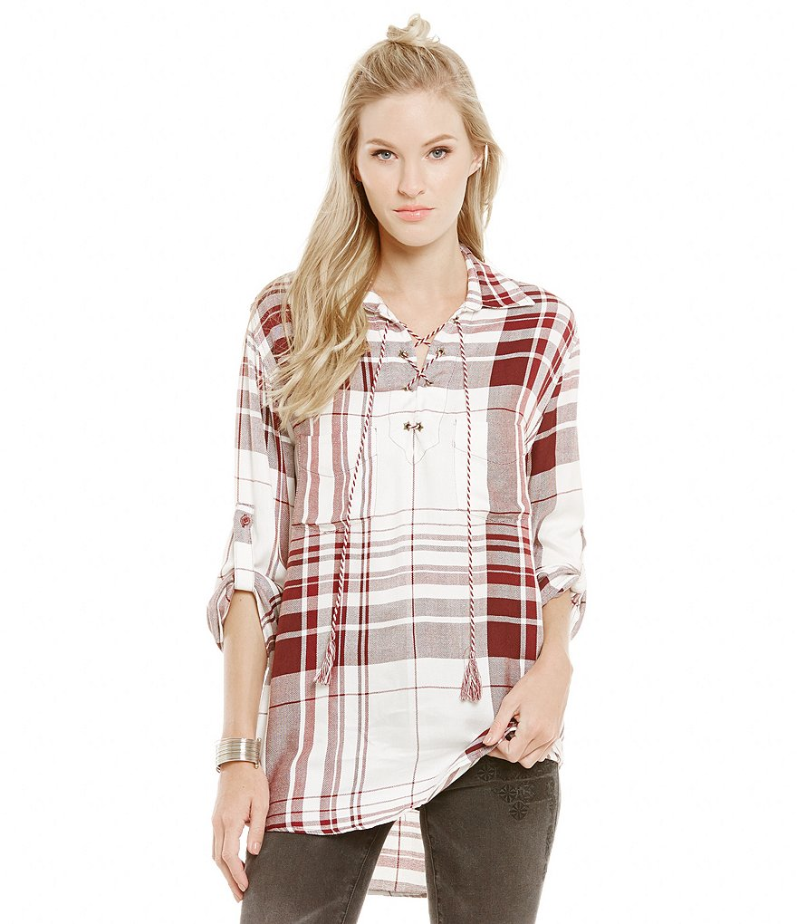 Chelsea & Violet Plaid Lace Up Blouse