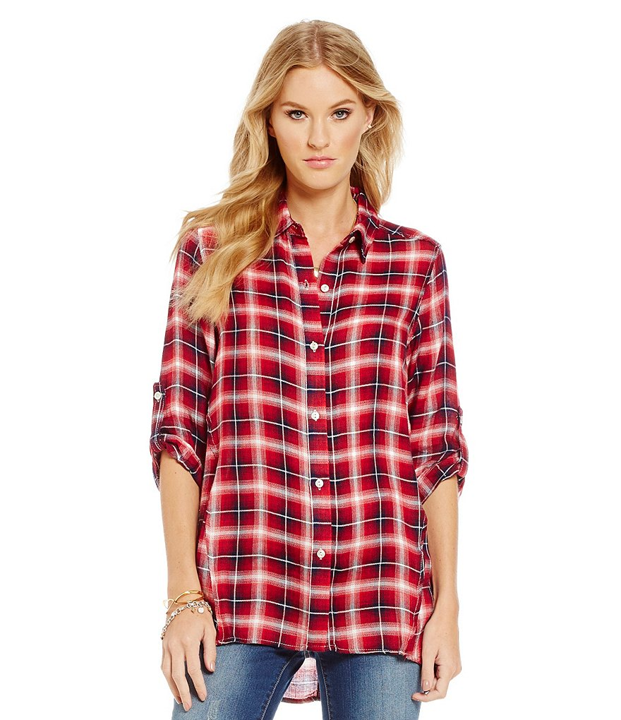 Chelsea & Violet Plaid Button Front Tunic