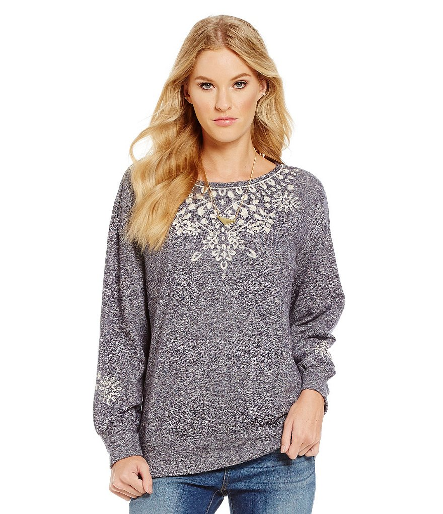 Chelsea & Violet Fleece Embroidered Slouchy Sweater