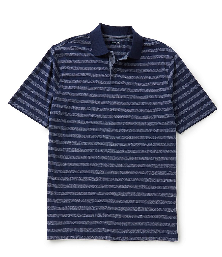 Roundtree & Yorke Casuals Short Sleeve Horizontal-Stripe Polo Shirt