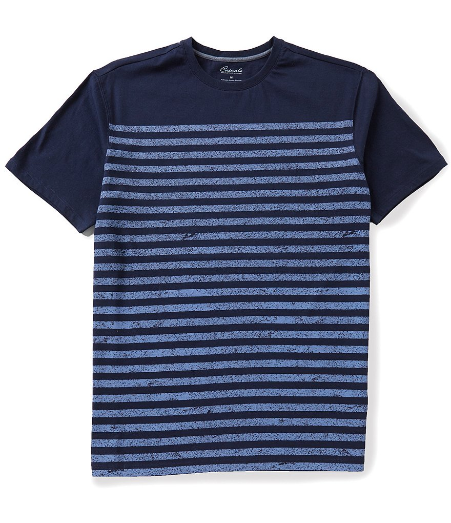Roundtree & Yorke Casuals Short Sleeve Horizontal-Striped Crewneck Tee