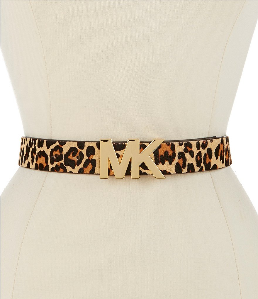 Michael Kors Leopard-Print Haircalf Belt with MK Buckle