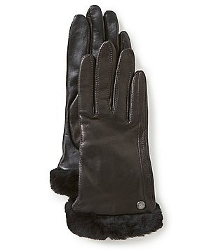UGG® Leather Tech-Smart Gloves with Shearling Cuffs