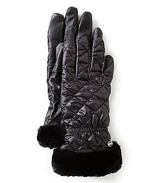 UGG® Quilted Tech Gloves with Shearling Cuffs & Faux-Fur Lining
