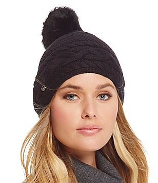 UGG® Cable-Knit Beanie with Shearling Pom
